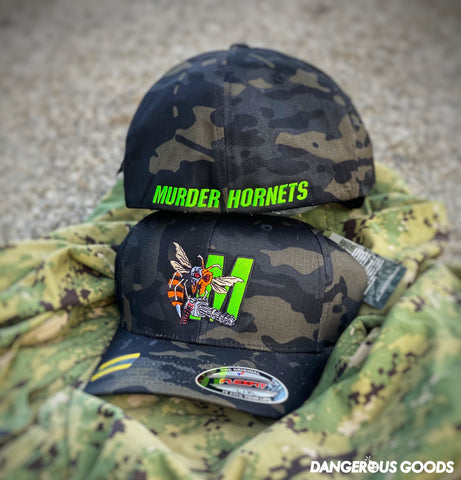 Dangerous Goods™️ Terminator Murder Hornet M134 Mini Gun Flex-Fit Hat - Multicam Black