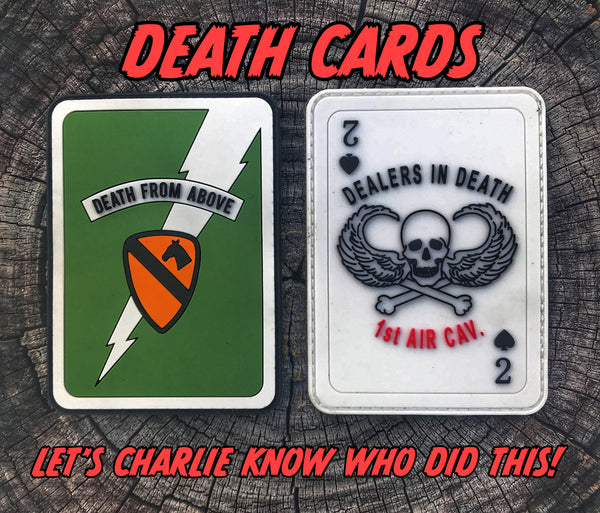 "KILGORE 1st AIR CAV DEATH FROM ABOVE ""DEATH CARDS"" MORALE PATCH SET"