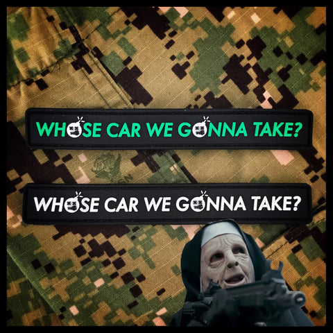 "Dangerous Goods ""Who's Car We Gonna Take"" Glow-In-The-Dark PVC Morale Patch - 2 Options"