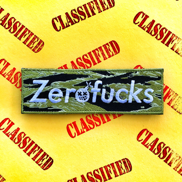 Zero Fucks Box Logo Morale Patch - Tiger Stripe