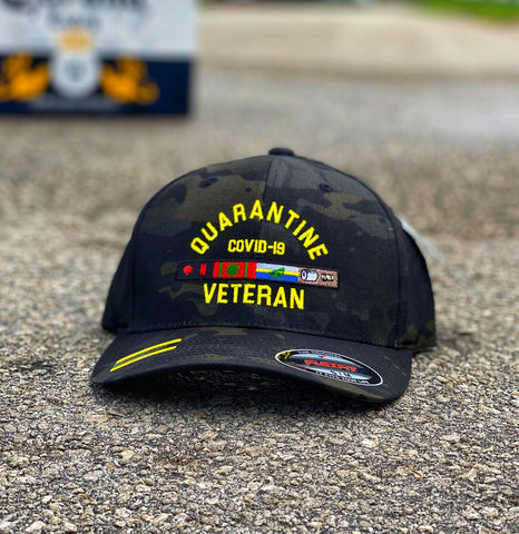🦠 NEW 🦠 Dangerous Goods™️ Quarantine Veteran Morale Flexfit Hat - Multicam Black