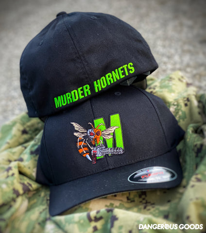 Dangerous Goods™️ Terminator Murder Hornet M134 Mini Gun Flex-Fit Hat - Black Ops