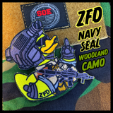 Zero Fucks Duck ZFD Navy Seal Morale Patch - Woodland Edition