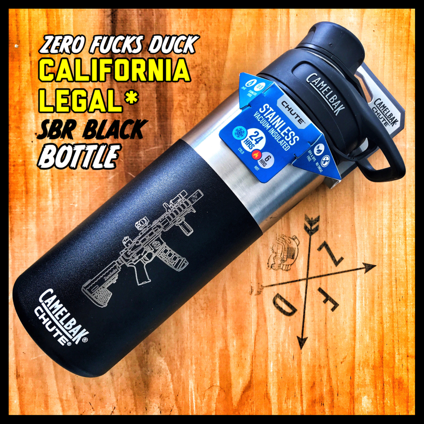 Zero Fucks Duck Black SBR Camelbak Bottle