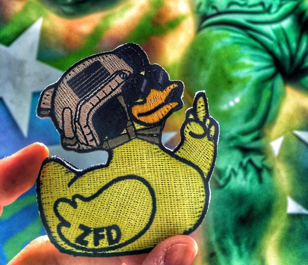 Zero Fucks Duck ZFD Classic Yellow Embroidered Patch