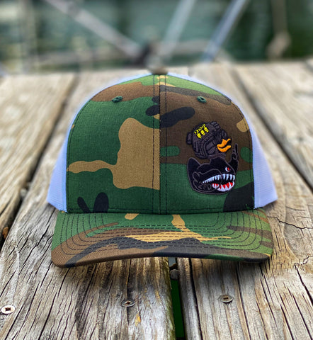 Zero Fucks Duck ZFD Flying Tigers Classified Trucker Hat - M81 Woodland Camo