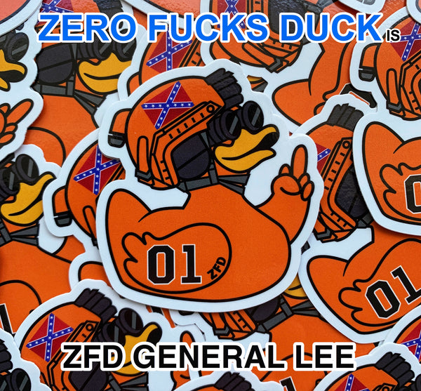 Zero Fucks Duck™ Duke Boys General Lee ZFD Sticker