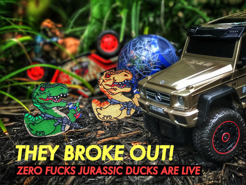 ZERO FUCKS JURASSIC DUCK T-REX MORALE PATCH SERIES