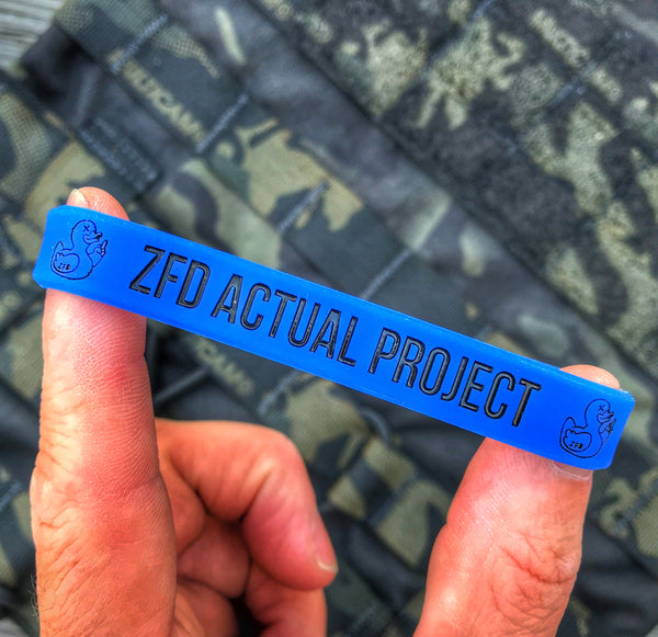 ZERO FUCKS DUCK 'ZFD ACTUAL PROJECT' PATROL BLUE SILICONE WRISTBAND