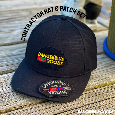 Dangerous Goods™️ Coronavirus Veteran Contractor Cap & Patch Set - Black Ripstop