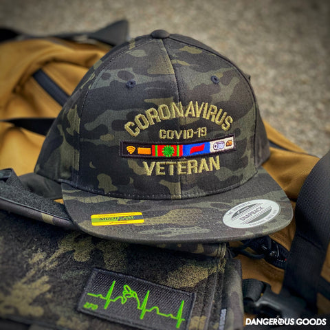 💥 NEW 💥 Dangerous Goods™️ Coronavirus Veteran Morale Hat - Multicam Black