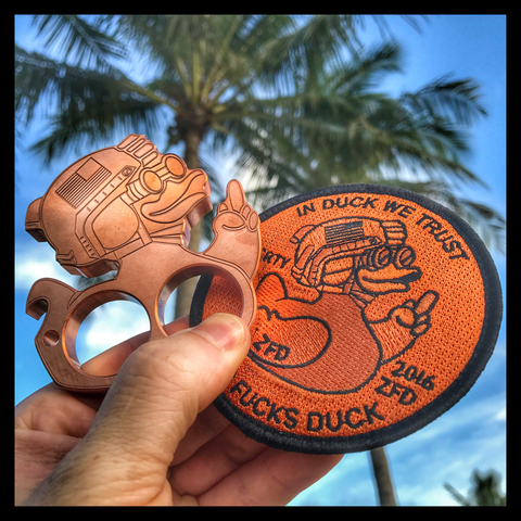 ZERO FUCKS DUCK LIMITED EDITION BOTTLE OPENER PATCH SET - COPPER