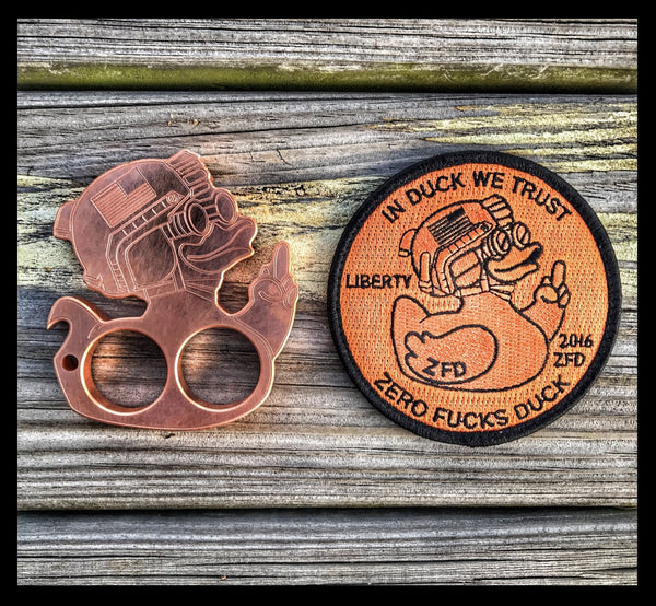 "DUMP BOX OFFICIAL ""ZFD"" ZERO FUCKS DUCK LIMITED EDITION BOTTLE OPENER PATCH SET - COPPER"
