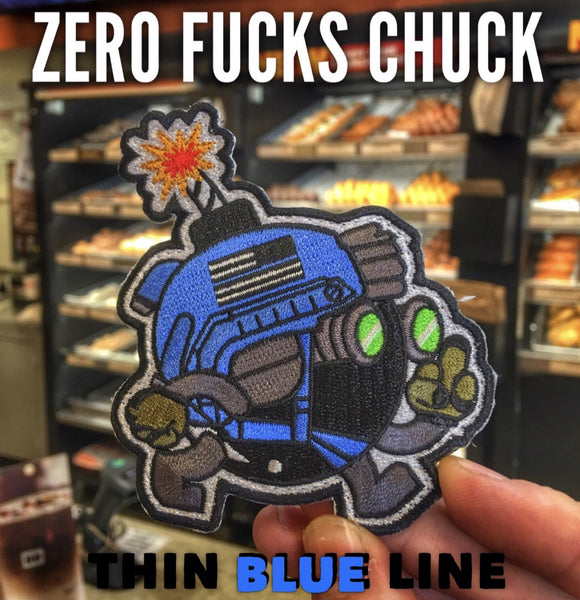 "ZERO FUCKS CHUCK ""ZFC"" WINGMAN MORALE PATCH - THIN BLUE LINE"