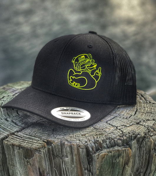 """ALL NEW"" A DUMP BOX ZERO FUCKS DUCK ""ZFD"" YELLOW DUCK/BLACK SNAPBACK TRUCKER HAT"