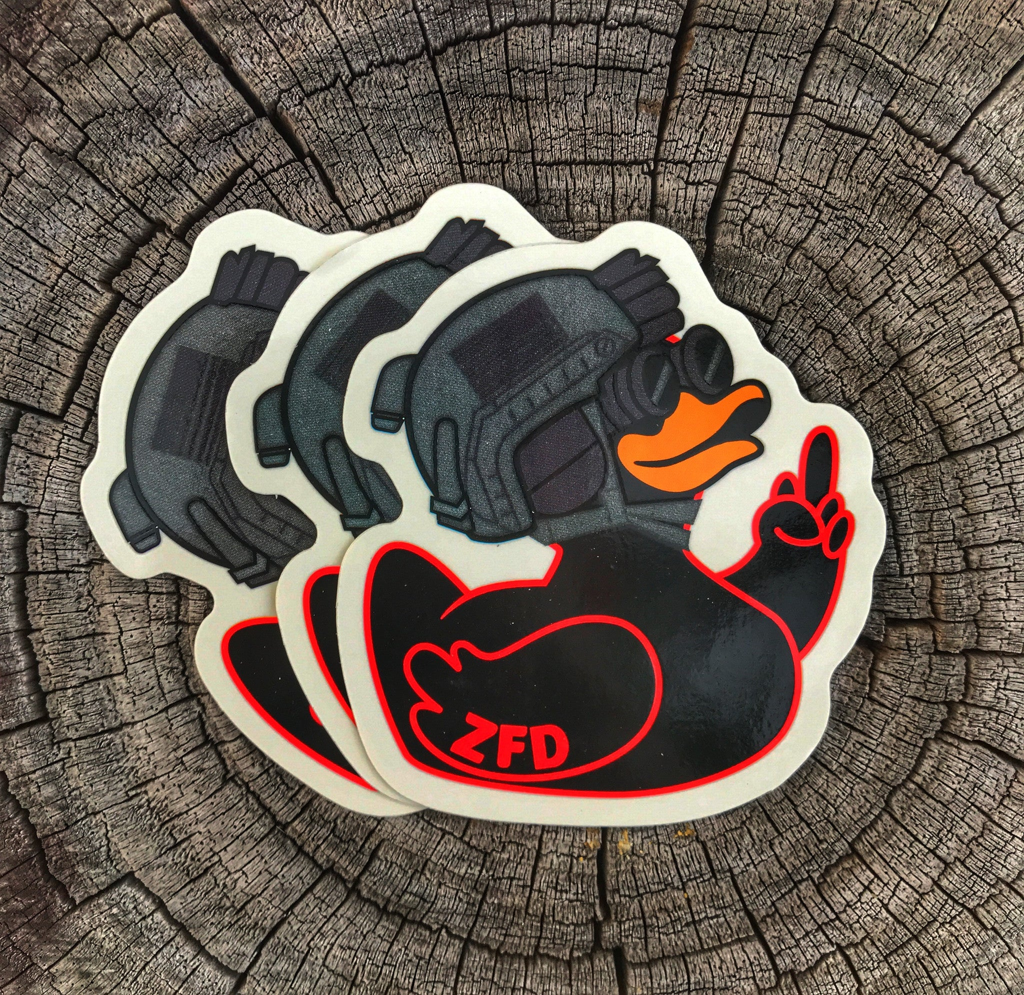 ZERO FUCKS DUCK ZFD OPERATOR NVG STICKER - RED