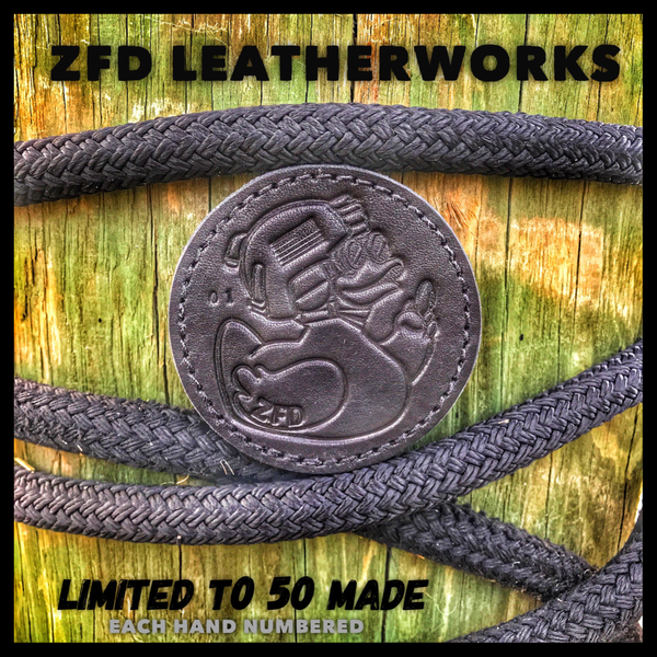 ZFD LEATHERWORKS STAMPED & NUMBERED LEATHER 3D MORALE PATCH - RECON BLACK
