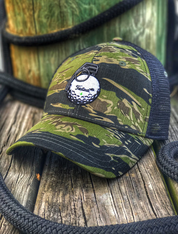 'TACTICAL GOLF' V-40 GRENADE GOLF BALL FLEX FIT TRUCKER HAT - TIGER STRIPE CAMO