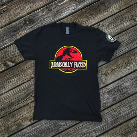 JURASSICALLY FUCKED T-REX M4 T-SHIRT