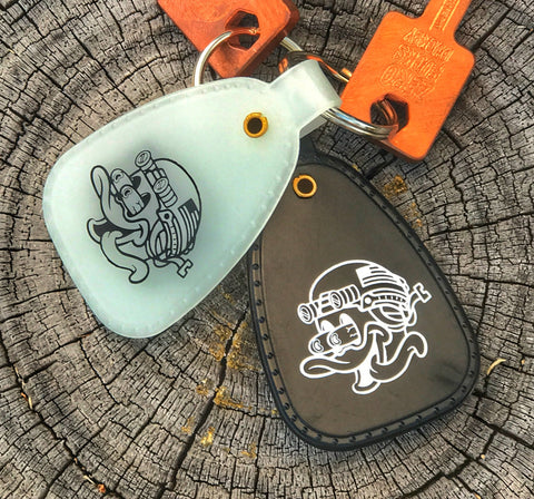 ZERO FUCKS DUCK SERIES 2 RETRO SADDLE KEYCHAIN TAGS - 2 COLOR OPTIONS
