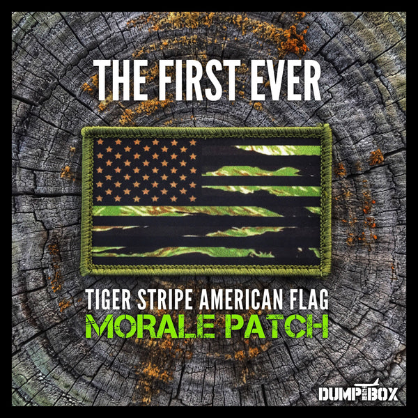 """                                                            ALL NEW                                                              "" A DUMP BOX OFFICIAL TIGER STRIPE CAMO SUBDUED AMERICAN FLAG MILITARY MORALE PATCH"