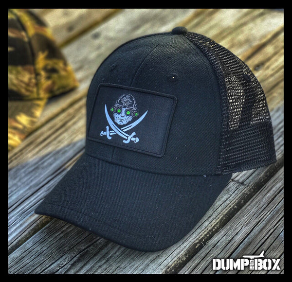 """ ALL NEW "" A DUMP BOX OFFICIAL 'CALICO ""MAD DOG"" MATTIS' SECDEF SERIES HATS - TIGER STRIPE & BLACKOUT TRUCKER"