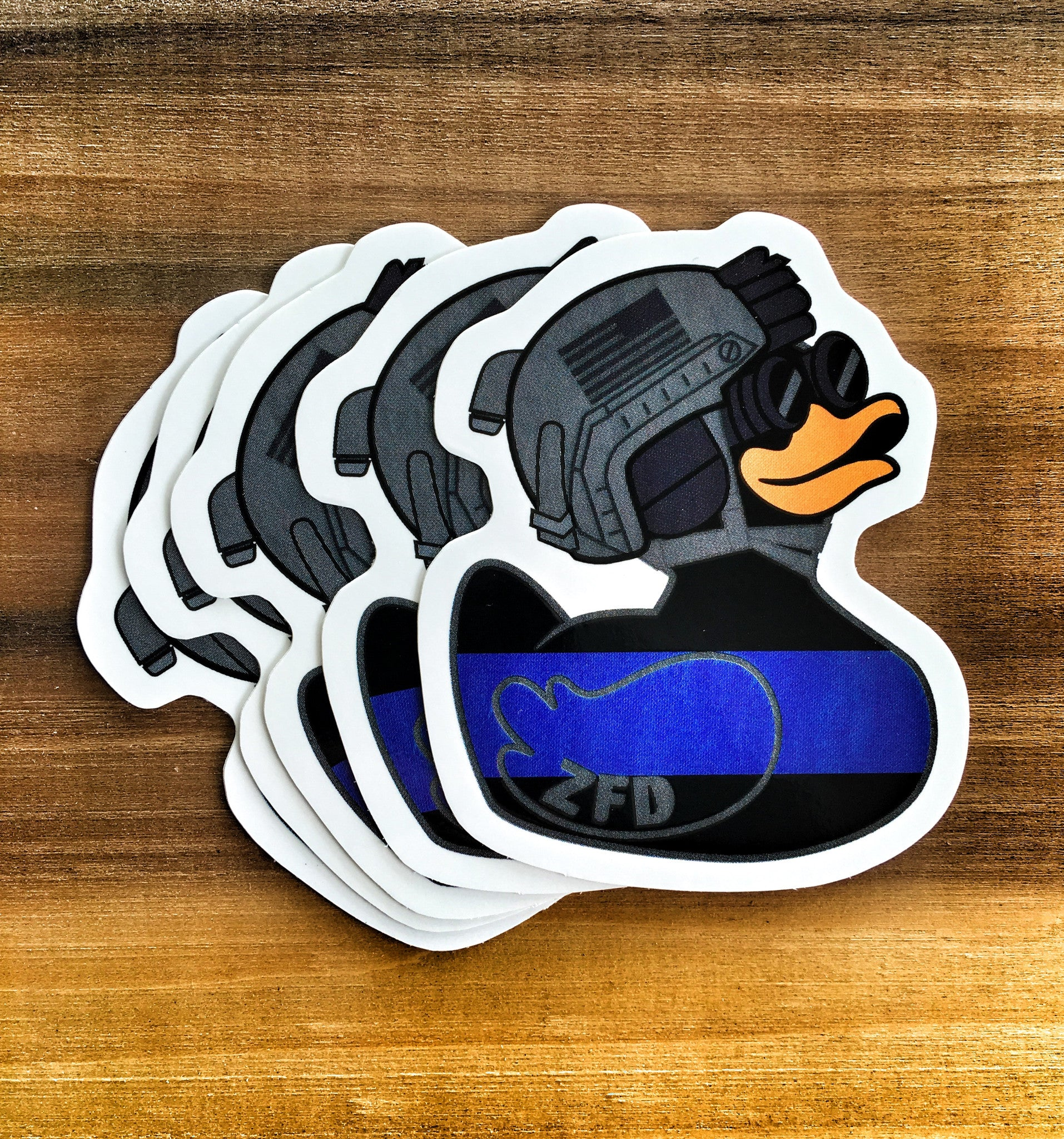 "ZERO FUCKS DUCK ""ZFD"" MORALE STICKER - THIN BLUE LINE"