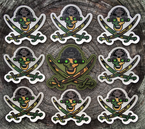 'ALL NEW' SKULLCRUSHERS JOLLY ROGER NVG OPERATOR PVC MORALE PATCH - WOODLAND