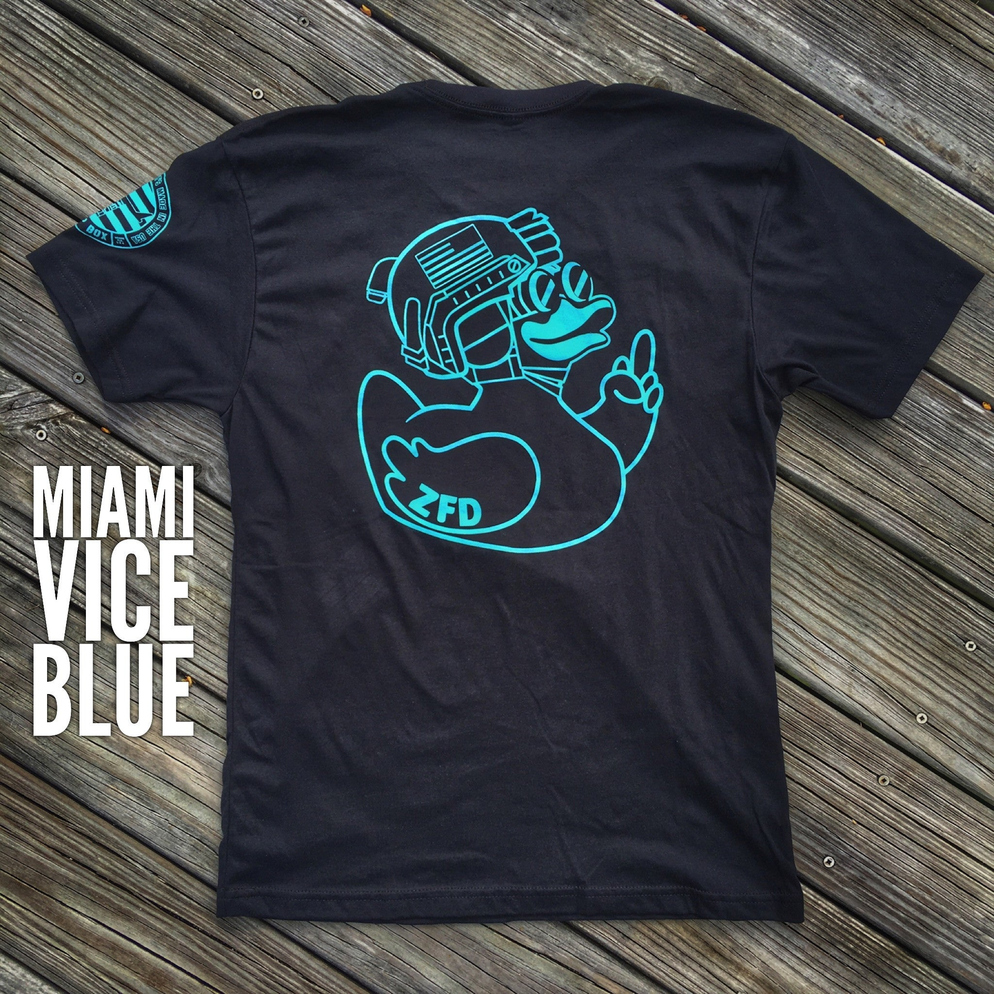 "ZERO FUCKS DUCK ""ZFD"" OPERATOR T-SHIRT - BLK/MIAMI VICE BLUE"
