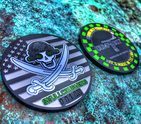 DUMP BOX SQUADRON / SKULLCRUSHERS JOLLY ROGER LIMITED EDITION BLACK METAL CHALLENGE COIN