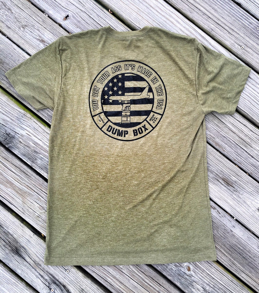 "*NOW AVAILABLE* DUMP BOX PREMIUM OFFICIAL POCKET DUMP ""YOU BET YOUR ASS"" OD GREEN T-SHIRT"