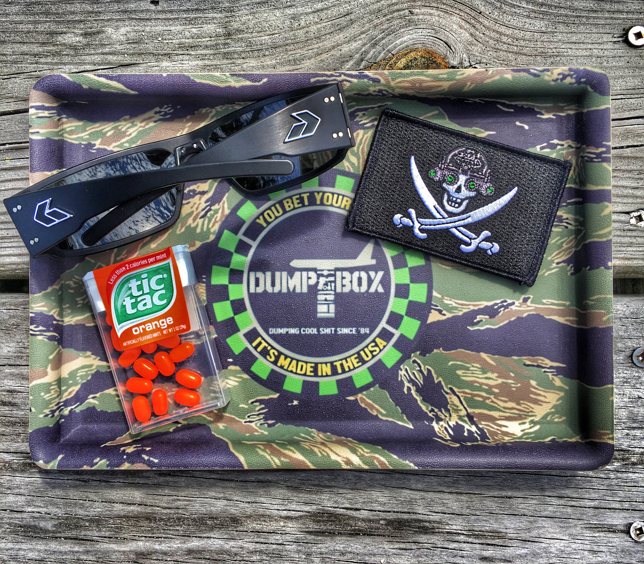 """ALL NEW"" A LIMITED EDITION DUMP BOX TIGER STRIPE CAMO KYDEX EDC TRAY"