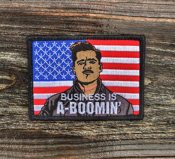 """BUSINESS IS A-BOOMIN"" MILITARY MORALE PATCH - 4 COLOR OPTIONS"