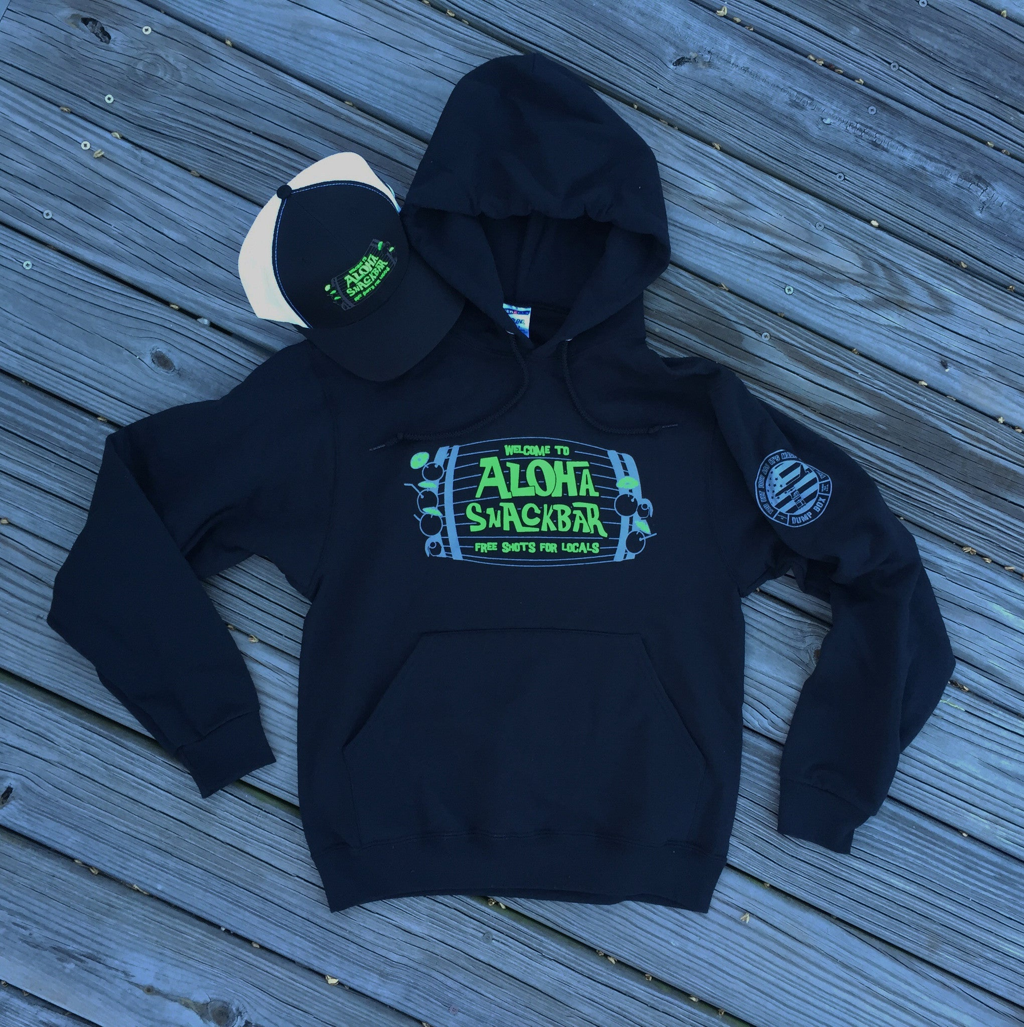 WELCOME TO ALOHA SNACKBAR, FREE SHOTS FOR LOCALS HOODIE - BLACK