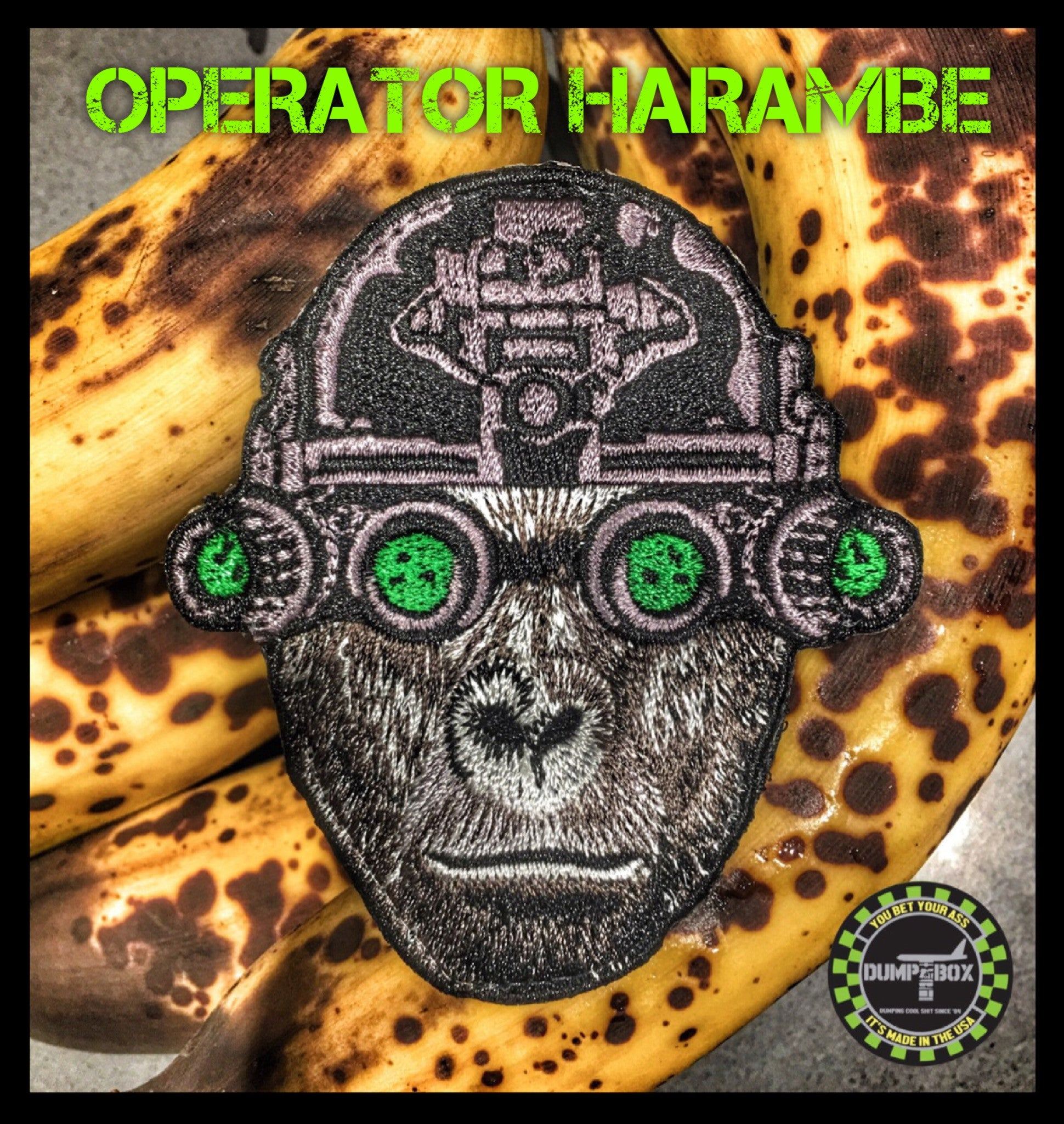 "OPERATOR HARAMBE ""HE KNEW TOO MUCH""  MILITARY MORALE PATCH"