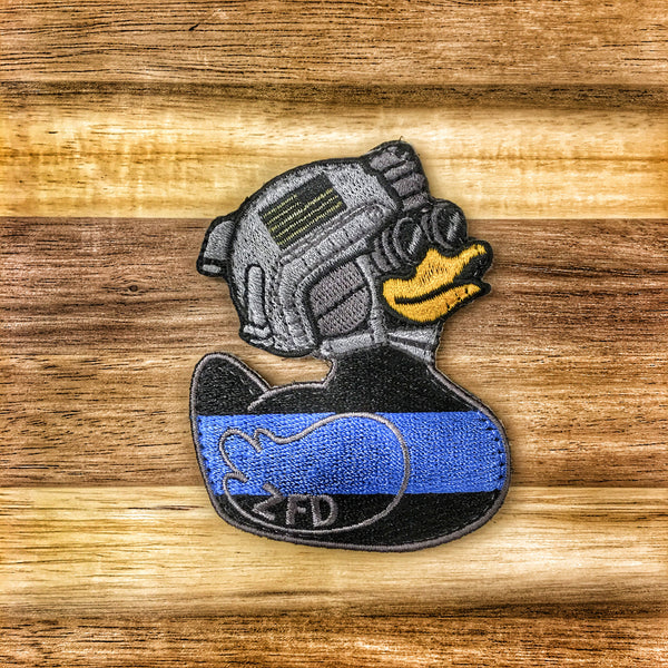 "ZERO FUCKS DUCK ""ZFD"" MORALE PATCH - THIN BLUE LINE"