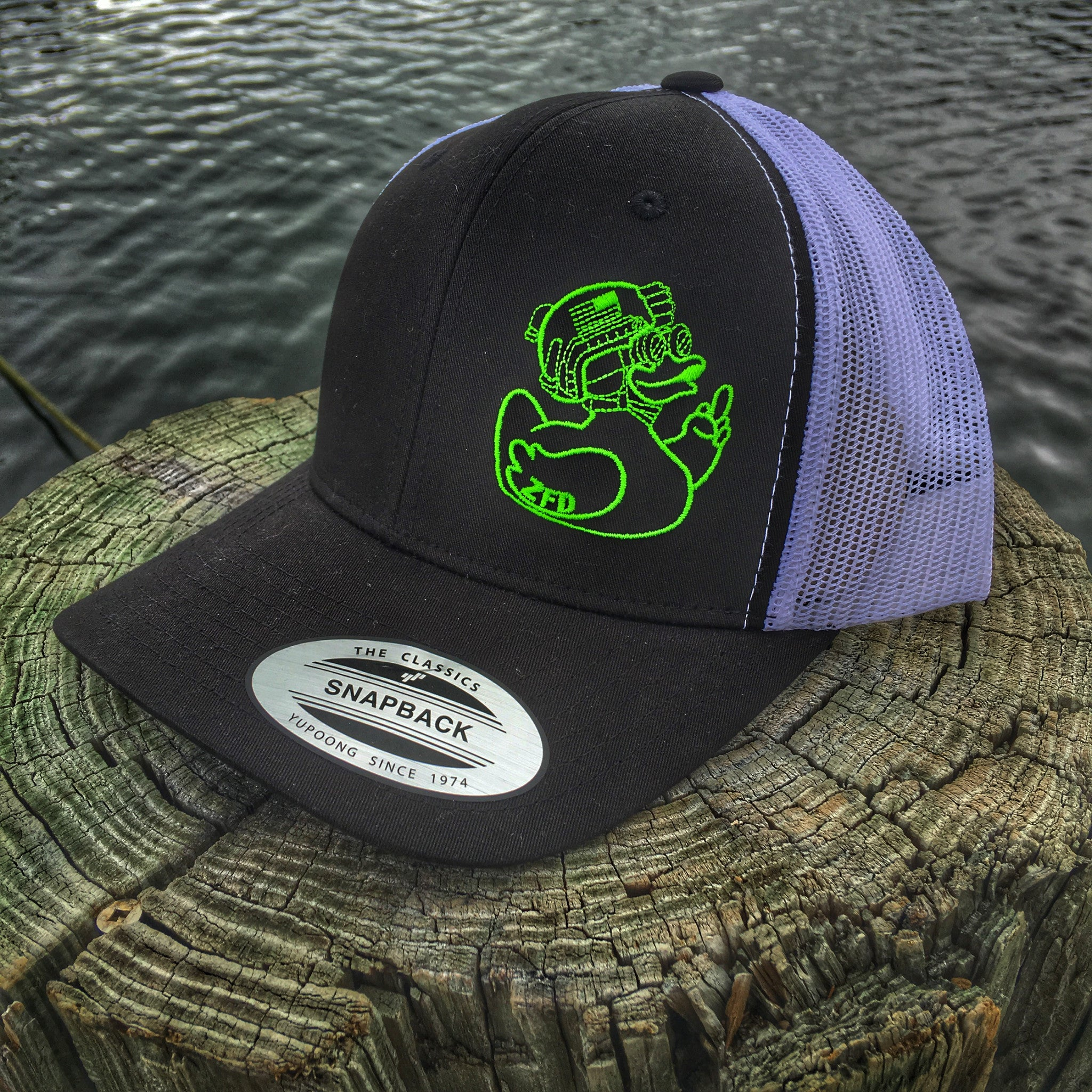 "DUMP BOX ZERO FUCKS DUCK ""ZFD"" TOXIC DUCK BLACK/WHITE SNAPBACK HAT"