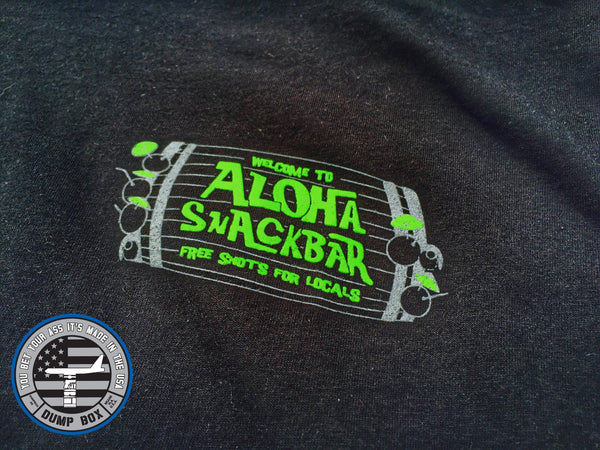 """NEW"" ALOHA SNACKBAR, FREE SHOTS FOR LOCALS T-SHIRT - BLACK"