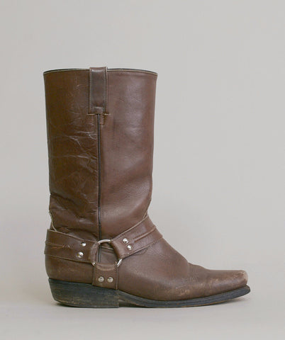 Harness Boots 70s Chocolate Brown Leather