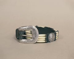 Hair Pipe Bone Beaded Concho Belt 70s Western Silver Buckle Black Leather