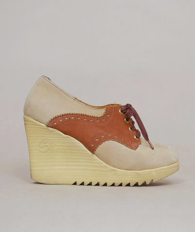 70s Platform Wedges Suede Oxfords 1970s Sbicca