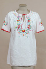 Peasant Blouse Embroidered Tunic Top 70s Hippie White