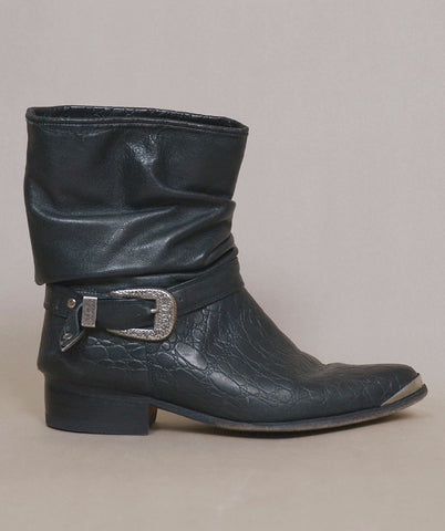 RESERVED Harness Boots Black Leather 80s Ankle Booties Motorcycle