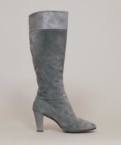 Grey Boots 80s Suede High Heel Tall Grey Leather