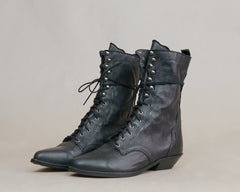 Lace Up Booties Black Leather Zodiac 80s