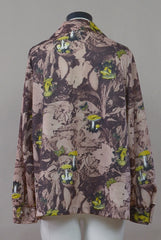 Mushroom Shirt 70s Brown Psychedelic Button Up  BUTTERFLIES