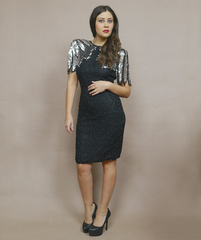 Sequin Dress 80s Trophy Dress Silver Black Feather Silk