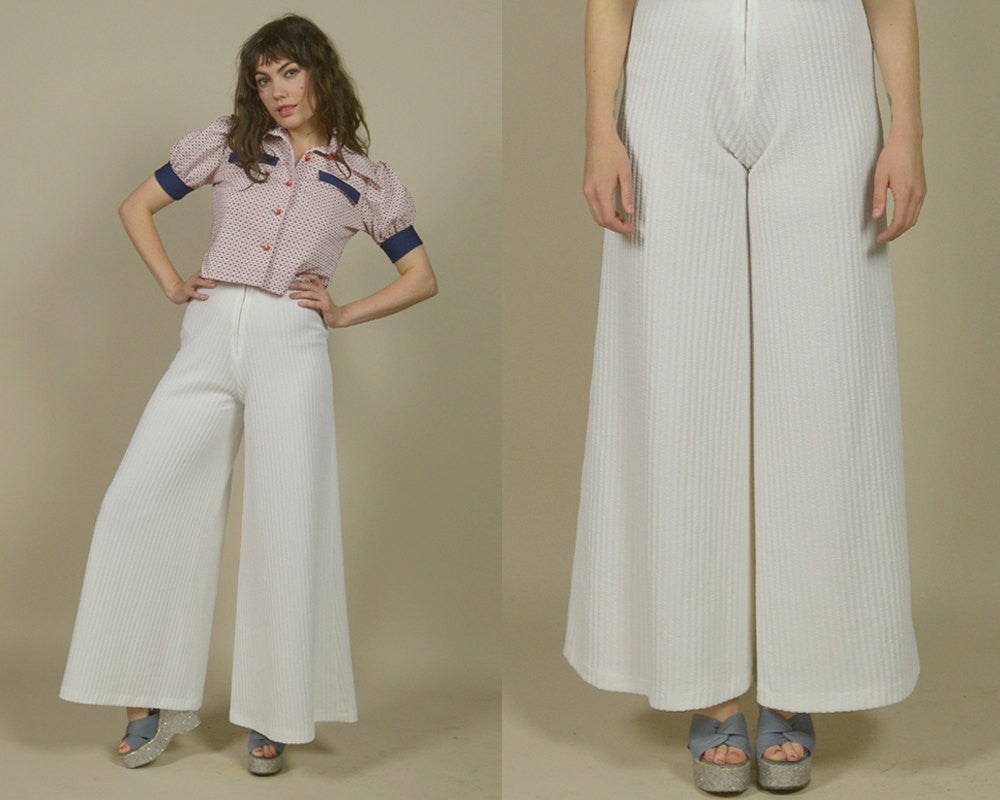 70s Palazzo Pants White High Waisted Wide Leg Bell Bottoms 1970s Hippie Gaucho Pants Glam Boho / Size S Small