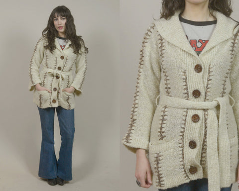 70s Cardigan Cream Crochet Sweater Boho Shawl Collar Button Up 1970s Hippie Bohemian Brown Stitching Cozy Belted / Size M L Medium Large