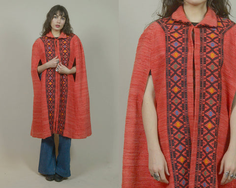 70s Cape Embroidered Red Woven Wool Poncho Collar 1970s Boho Cloak Mid Length Ethnic Hippie Folk Art / OS One Size Fits Most